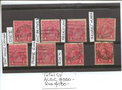 AUSTRALIA - Selection of USED RED ONE PENNY KGV HEAD STAMPS