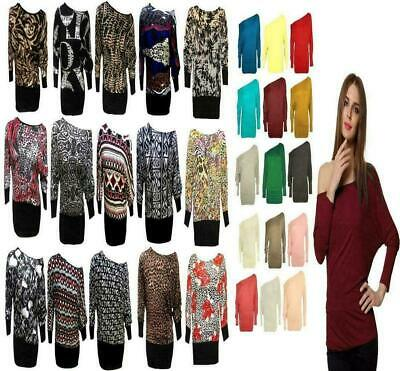 Womens Ladies Print Full Sleeve Batwing Baggy Causal Novelty Shirt Top Plus Size