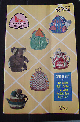 """Vintage Patons """"Gifts to knit"""" knitting pattern book - dolls clothes, tea cosies"""
