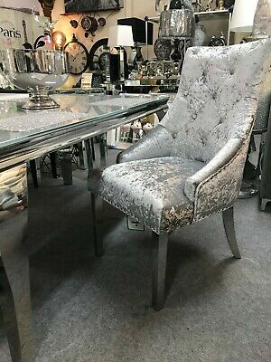 Cheshire Knocker Back Dining Chair Silver Crushed Velvet Louis Chrome Legs