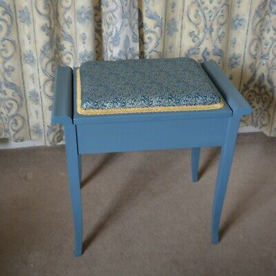 Shabby Chic Piano or Dressing Table Stool Upholstered Chalk Painted with Storage