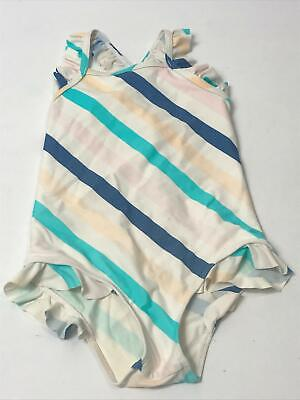 Girls M&S White Blue Pink Stripe Swimming Costume Age 2-3 Years Swimsuit