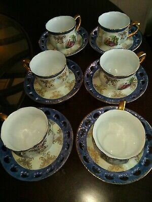 Vintage YS Porcelain Tea/Coffee Cup, Saucer Iridescent English Garden Gold trim