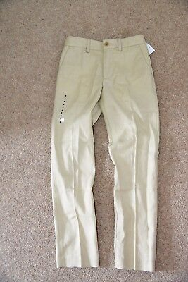 New Polo Ralph Lauren Boys Skinny Fit Chino Trouser Pant Beige Sand Linen 8 Yrs