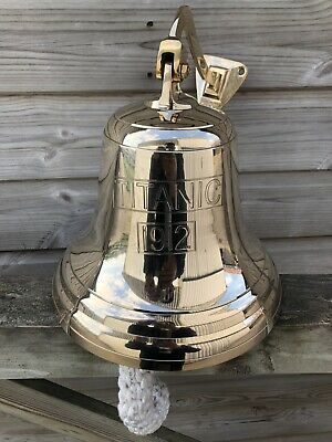 "10"" Brass Last Orders Bell Wall Hanging  Pub School Dinner Titanic 1912 Engraved"