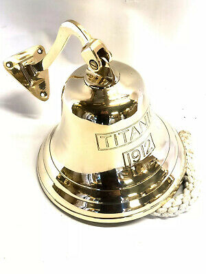 Brass Last Orders Bell Wall Hanging  Pub School Dinner Titanic 1912 Engraved 8""