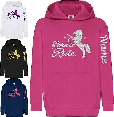 Personalised Childrens Glitter Horse Riding Hoody Equestrian Hoodie Arm Print