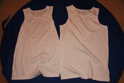 Boys Marks and Spencer white vests (2 items) - age 11 to 12