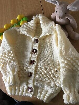Lovely hand knitted Child's aran cardigan 66cm chest cosy