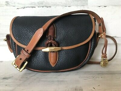Vintage Dooney & Bourke All Weather Leather Loden Saddle Bag Toggle Latch