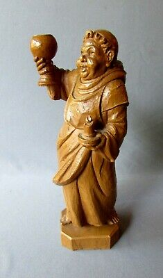 ANTIQUE German BLACK FOREST Hand Carved Wood Figure MONK with DRINKING GLASS