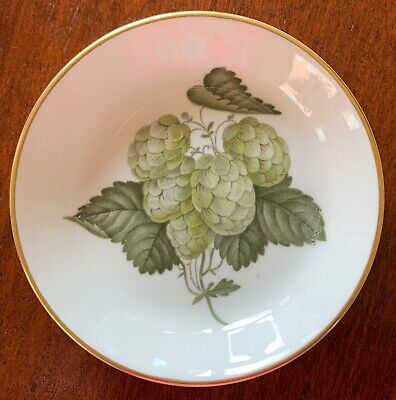 """Royal Worcester, """"The Worcester Hop"""", Coaster, White, Gold Trim, Green Berries"""