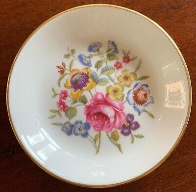 """Royal Worcester, """"Bournemouth"""", 4"""" Coaster, White, Gold Trim, Floral Center"""