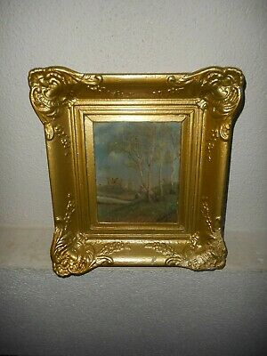 19th century oil painting, +- 1880,{ Impress. style - woman near the trees }.