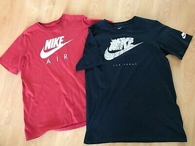 2 X Designer NIKE T-Shirts Youth XL Black & Red Both In Great Condition Girl/Boy