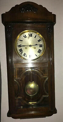 Vintage Hac German Pendulum Wall Clock With Gong