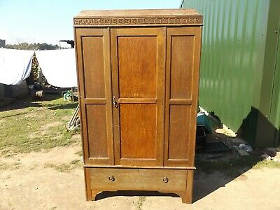 old vintage wardrobe with draw oak frame 30 s 40 s barn find