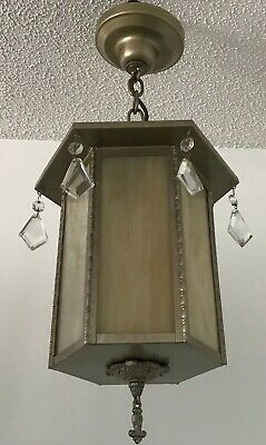 Antique brass painted stained paneled hexagon glass 1940s ceiling light fixture