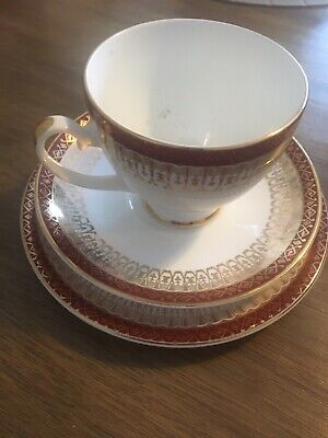 Royal Grafton Majestic Red Cup, Saucer & Tea Plate Set.