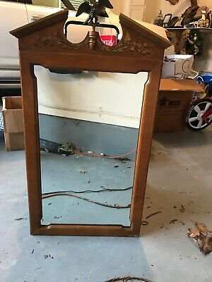 Vtg Tell City Chair Company Tall Mirror With Bronze Eagle