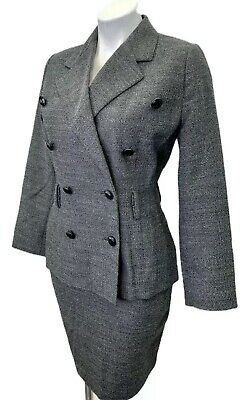 Linda Allard Ellen Tracy Skirt Suit 4 Petite Wool Gray Lined Double Breasted EUC