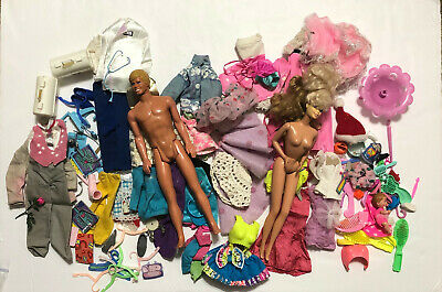 1980s Barbie And Ken Dolls With Clothes and Accessories