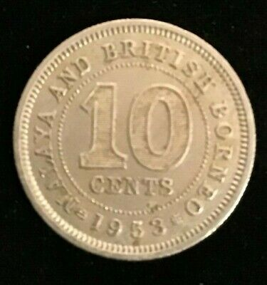 Malaya and British Borneo 1953  10 Cent Coin