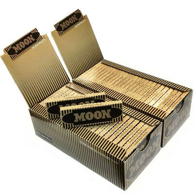 """Moon Gold 1.0"""" 100 booklets 70*36mm Cigarette Tobacco Rolling Papers Mix Flax"""