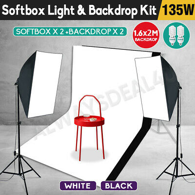 Photography 2X3M Backdrop Soft Box Studio Softbox Lighting Video Light Stand Kit