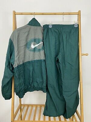 VTG 90s Nike Men's Big Swoosh Two Piece Windbreaker Track Suit Jacket & Pants L
