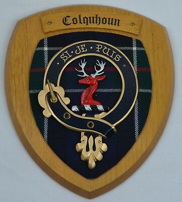 Scottish Carved Wood COLQUHOUN Clan Modern Tartan Plaque Crest Shield Coat Arms
