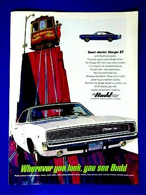 """1968 Dodge Charger R/T Budd Sweet Chariot Cable Car Original Print Ad-8.5 x 11"""""""