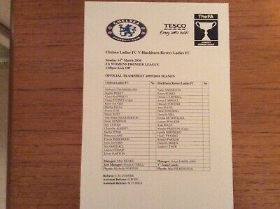 Chelsea Ladiesv Blackburn Rovers Ladies 2009-2010 Prem League TEAMSHEET