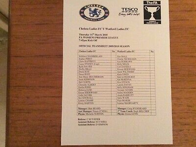Chelsea Ladies v Watford Ladies 2009-2010 Prem League TEAMSHEET