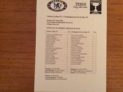 Chelsea Ladies v Notts Forest 2009-2010 Prem League TEAMSHEET