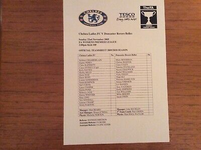 Chelsea Ladies v Doncaster Rovers Belles 2009-2010 Prem League TEAMSHEET