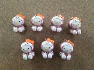 Lot of 7 Hello Kitty Sanrio Pink Owl Bird Costume Charms for Necklace Cell Phone