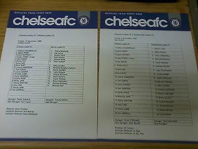 Chelsea Ladies v Sunderland Ladies 2009-2010 TEAMSHEET