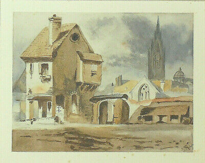 Antique 19th Century Victorian Watercolour Painting Cathedral Spire Town Signed