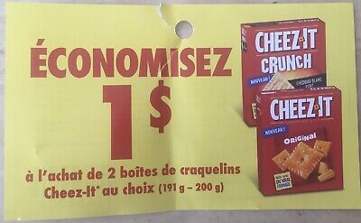 Lot of 10 x 1.00$ Cheez-It Products Coupons Canada