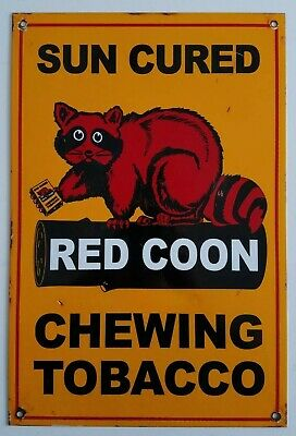 """RED COON CHEWING TOBACCO PORCELAIN ADVERTISING SIGN 18""""x12"""" EXCELLENT SHAPE"""