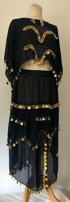 Traditional Ladies Dancers Out Fit Belly Midnight Blue,Gold Sequins.Egyptian#485
