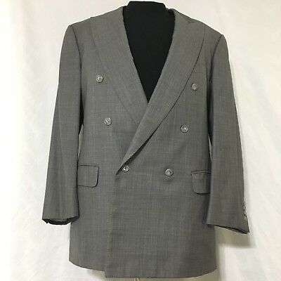 Ermenegildo Zegna Neiman Marcus 100% Wool Blazer 54L Italy Double Breasted Plaid