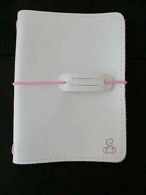 Foxy Fix Travelers Notebook Cover - White Leather w/pink elastic Size No. 3