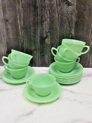 Set of 8 Fire-King Oven Ware Jane Ray Jadeite Cups and Saucers Vintage