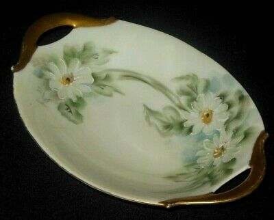 Bavaria  Hand Painted Daisy Flowers Gold Handles Candy Dish 1900