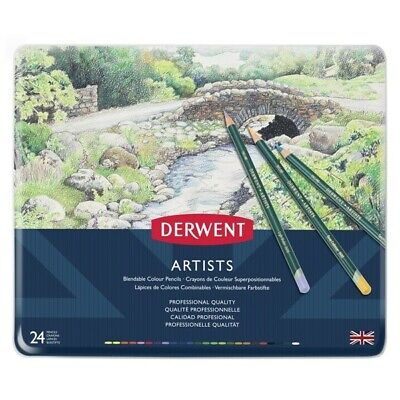 Derwent Artists 24 Colour Pencils Tin Case Made in UK 32093