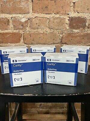 """5"" Boxes Of 200 Alcohol Prep Pads Curity Wipes topical Antiseptic 70% Isopropyl"