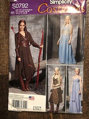 SIMPLICITY 1347 OOP Misses Hobbit Elf Fantasy AGOT Warrior Costume Pattern