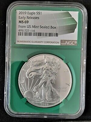 2019 American Silver Eagle - NGC MS69 Early Release Green Label